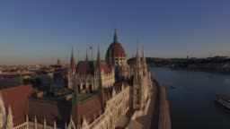 Drone video. Hungarian Parliament Building In Budapest. Sunset.  Aerial view. 4K