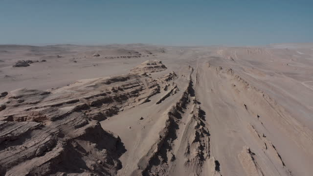 drone video of a desert land and yardang landform - china east asia stock videos & royalty-free footage