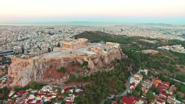 drone video of acropolis, athens, greece - athens greece stock videos & royalty-free footage