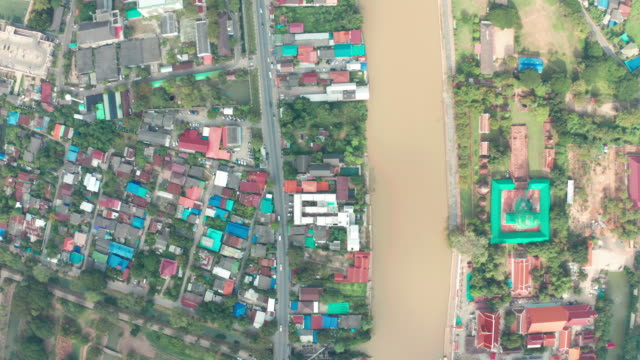 drone video of ayutthaya city, thailand - ayuthaya province stock videos and b-roll footage