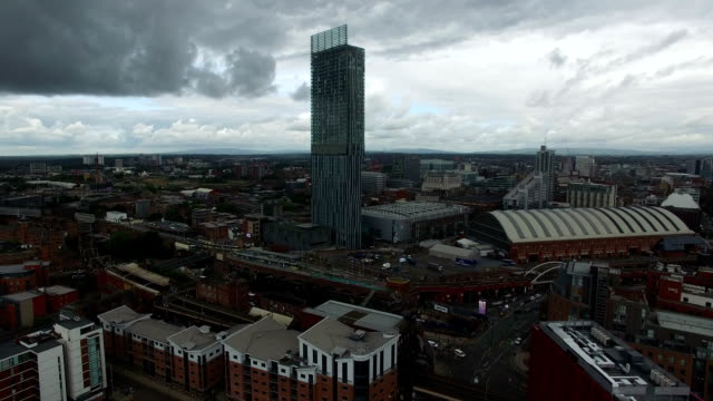 drone video of beetham tower - manchester's tallest tower - manchester england stock videos & royalty-free footage
