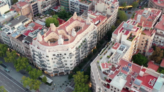 drone video of casa mila and barcelona cityscape - 1906 stock videos and b-roll footage