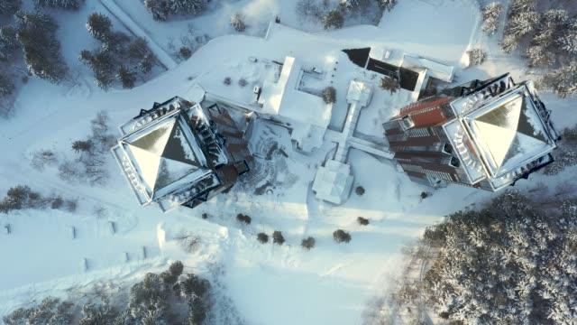 Drone video of Hoshino Resorts Tomamu, Hokkaido, Japan