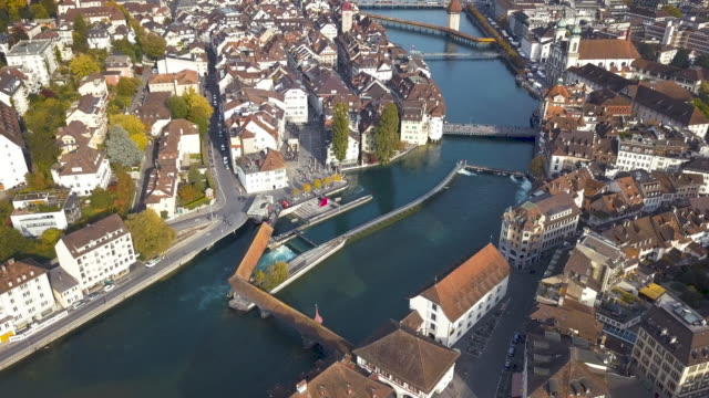 drone video of lucerne city, switzerland - lake lucerne stock videos & royalty-free footage