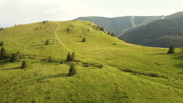 drone video of meadows in mountain in the summertime - hill stock videos & royalty-free footage