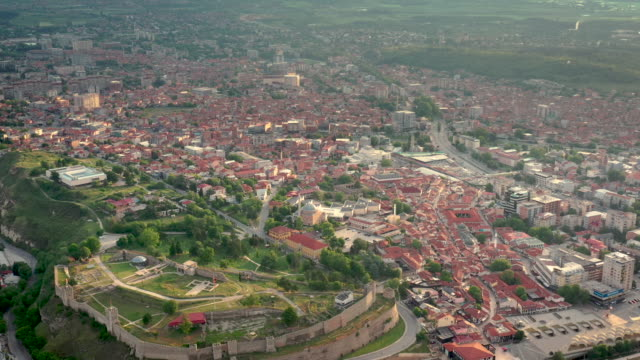 drone video of skopje cityscape - skopje stock videos and b-roll footage