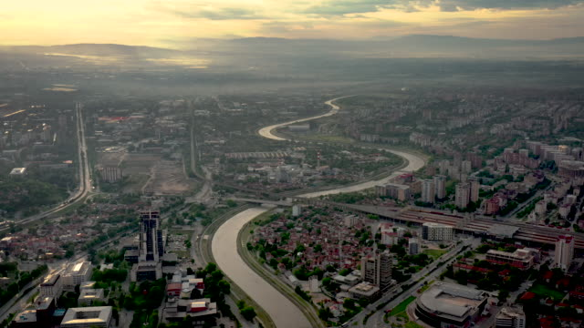 drone video of skopje cityscape - north stock videos and b-roll footage