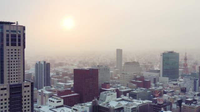 drone video of snow asahikawa, hokkaido, japan - schneefestival stock-videos und b-roll-filmmaterial