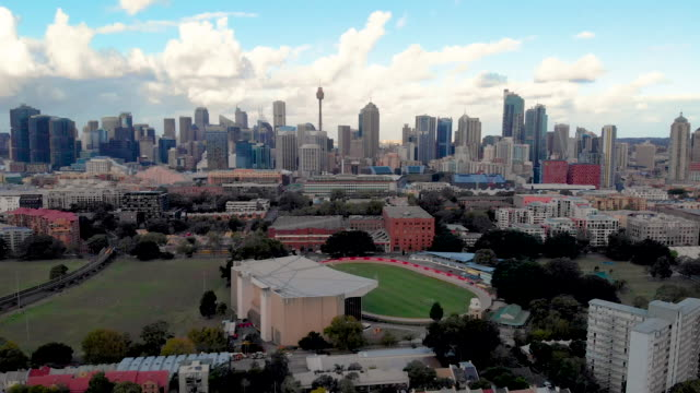 Drone video of Sydney Downtown and Sydney Tower