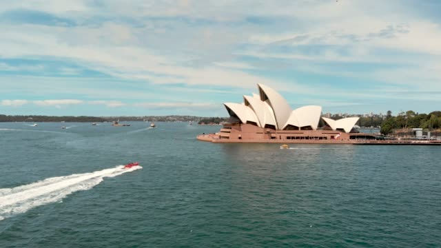 drone video of sydney opera house - opera house stock videos & royalty-free footage