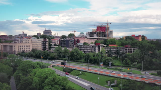 drone video of the cityscape of belgrade, serbia - serbia stock videos & royalty-free footage
