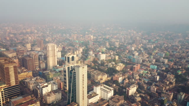 drone video of the cityscape of chittagong, bangladesh - bangladesh stock videos & royalty-free footage