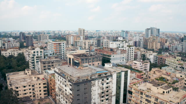 4k drone video of the cityscape of dhaka, bangladesh - dhaka stock videos & royalty-free footage