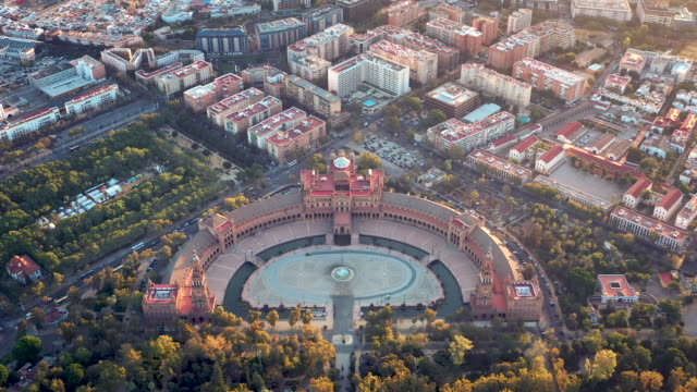 drone video of the plaza de españa in seville, spain - 1928 stock videos & royalty-free footage