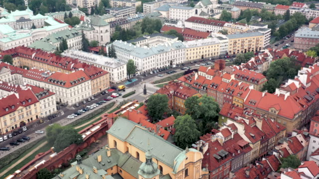 drone video of the warsaw old town - warsaw stock videos & royalty-free footage