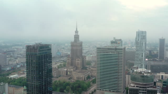 drone video of warsaw city in the cloud - warsaw stock videos & royalty-free footage