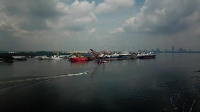 A drone vies boats in the straits of Johor Bahru Masai Malaysia