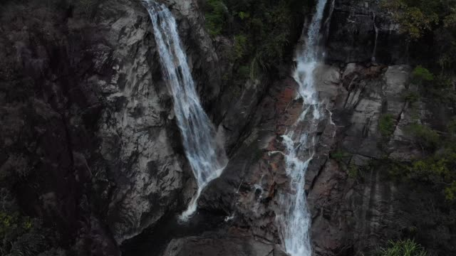 4K drone view and crane shot of waterfall.