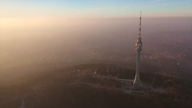drone view at great polution from avala tower - carbon monoxide stock videos & royalty-free footage