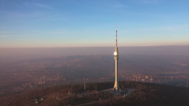 drone view at tower avala during massive polution - carbon monoxide stock videos & royalty-free footage