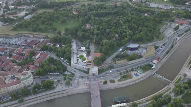 drone view beautiful town of nis in sunset - serbia stock videos & royalty-free footage