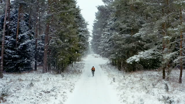 vídeos y material grabado en eventos de stock de drone view of a cyclist on snowy forest track - footpath
