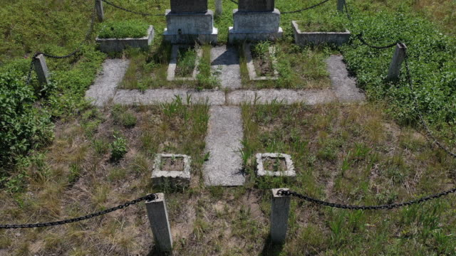 stockvideo's en b-roll-footage met a drone view of a monument to soviet soldiers in the village of kryva hora on june 17 2019 the chernobyl disaster was a catastrophic nuclear accident... - kernramp van tsjernobyl