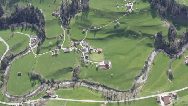 drone view of a rural area in switzerland - rennen stock videos & royalty-free footage
