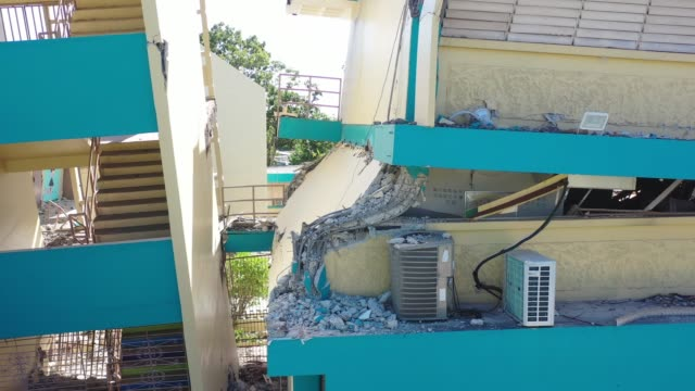 a drone view of agripina seda school collapse in guanica puerto rico on janaury 11 2020 after 64magnitude earthquake hit guanica puerto rico on... - seda stock videos & royalty-free footage