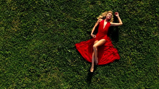 drönarvy av vacker kvinna på fältet - skönhet och kroppsvård bildbanksvideor och videomaterial från bakom kulisserna