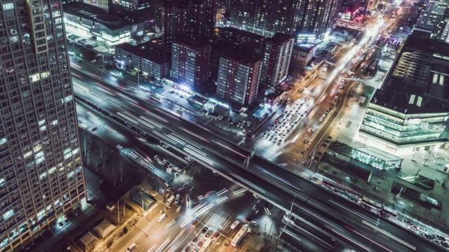 vidéos et rushes de t/l ws ha tu drone découvre de la route de pékin aux heures de pointe - échangeur