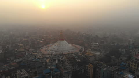 drone view of boudhanath stupa, a unesco world heritage site, in kathmandu, nepal. - unesco world heritage site点の映像素材/bロール
