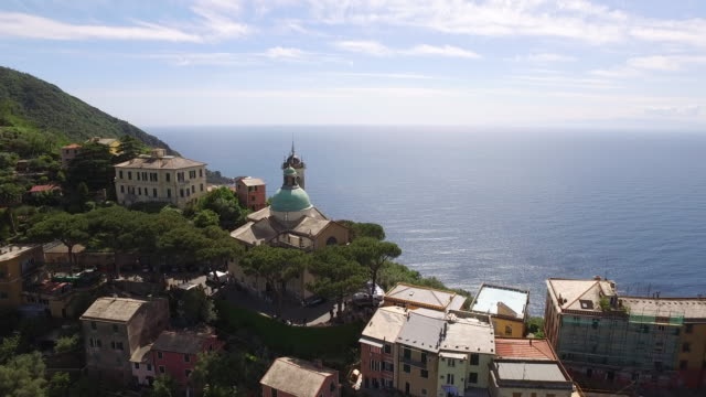 Drone view of Camogli in Italy