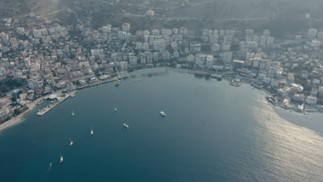 drone view of city of sarande albania - albania stock videos & royalty-free footage
