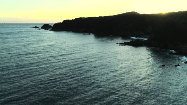 Drone view of coastline at sunset