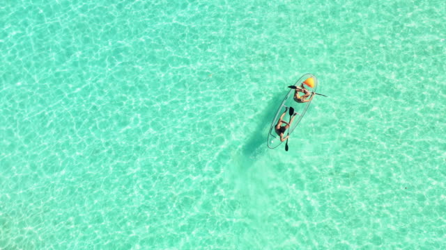 drone view of couple kayaking on tropical ocean - maldives stock videos & royalty-free footage