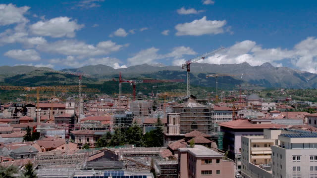 A drone view of crane in historic center of L'Aquila on June 6 2017 On Monday April 6th of 2009 a powerful earthquake measuring 58 on the Richter...