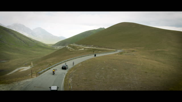 A Drone View of cyclists during the Gran Fondo Alte Cime d'Abruzzo in Fonte Vetica during the Gran Fondo Alte Cime d'Abruzzo in Castel Del Monte...