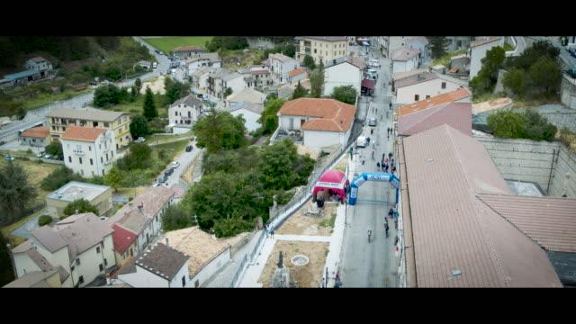 A Drone View of cyclists during the Gran Fondo Alte Cime d'Abruzzo in Castel Del Monte L'Aquila on July 2 2018