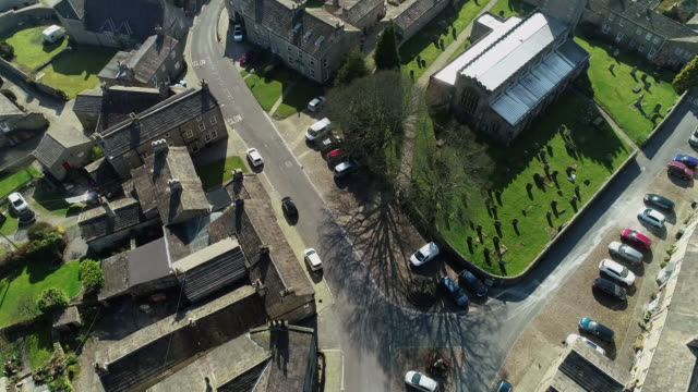 drone view of deserted village of askrigg in wensleydale during the covid-19 outbreak on 28 march 2020 in yorkshire dales national park, united... - village stock videos & royalty-free footage