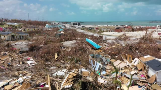 drone view of devastation on marsh harbour, abaco island, on september 11, 2019. the mudd used to be a slum where live mostly undocumented haitians.... - バハマ点の映像素材/bロール
