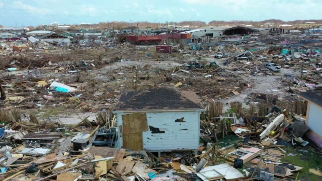 drone view of devastation on marsh harbour, abaco island, on september 11, 2019. hurricane dorian made landfall on the island as a category 5... - バハマ点の映像素材/bロール