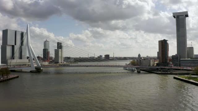 drone view of erasmus bridge in rotterdam - bascule bridge stock videos & royalty-free footage