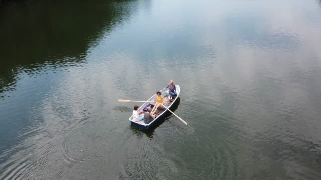 Drone view of females boating in lake