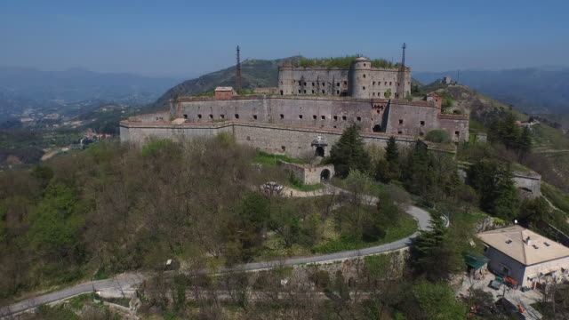 Drone view of fort Sperone, Genoa, Italy
