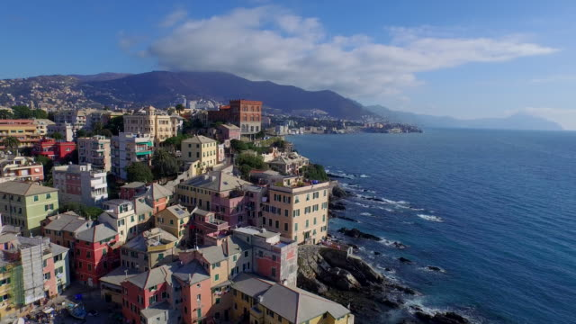 drone view of genoa, italy - italy stock videos & royalty-free footage