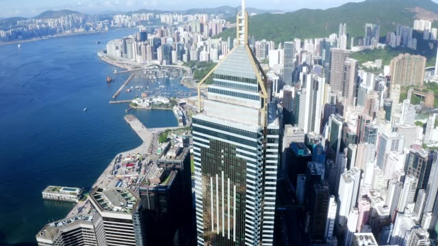 drone view of hong kong city drone view - central plaza hong kong stock videos & royalty-free footage