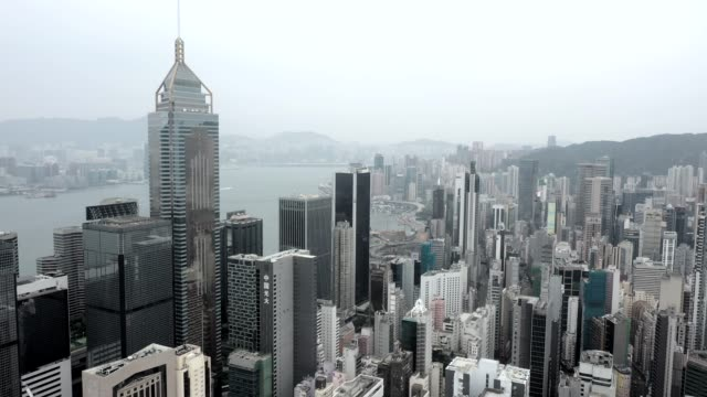 drone view of hong kong city - central plaza hong kong stock videos & royalty-free footage