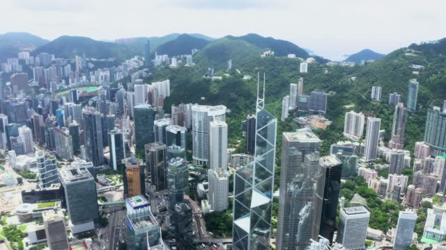 drone view of hong kong city - central district hong kong stock videos & royalty-free footage