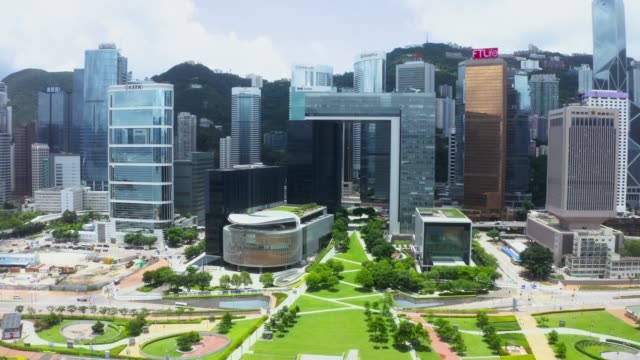 drone view of hong kong city - smart city stock videos & royalty-free footage